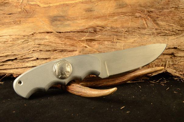 "#1 -Blade 3.5"" Overall 7.5""  Handle - Aluminum - Bead Blast Finish D2 steel $200"