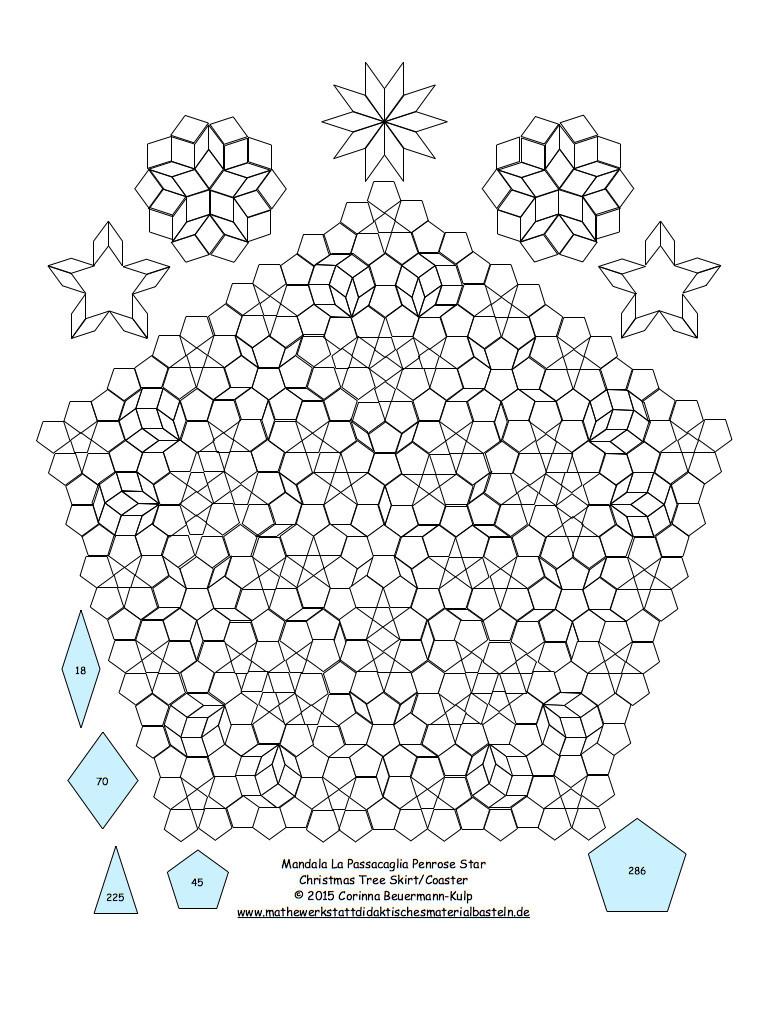Urlaubspostkarte Penrose X-Mas Tree Skirt.  MIT BLAUER SCHABLONE!