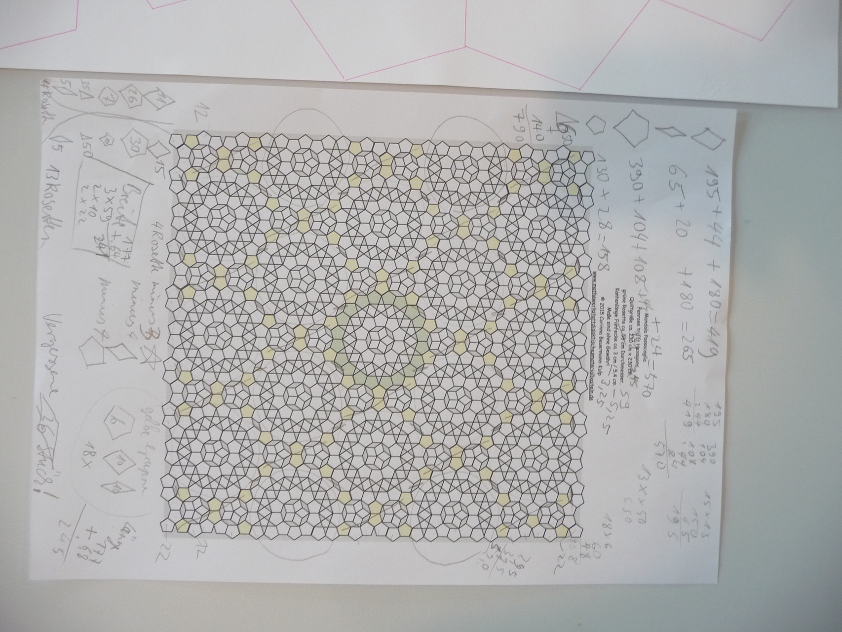 Für die großen Schablonenteile, Endgröße Quilt über 2 m Kantenlänge...