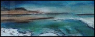 Entre Ciel et Terre 12    Mer morte; pastel sur papier Kraft                                80€