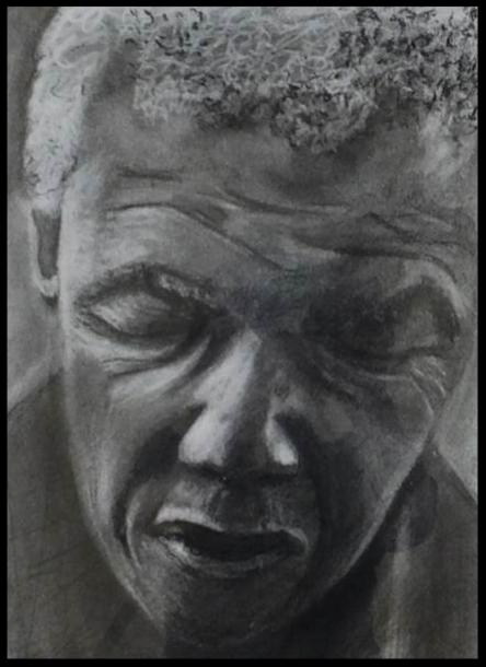 Mandela; Pastel et fusain sur papier  21 X 29,7    (cadre bois noir laqué , passe-partout)