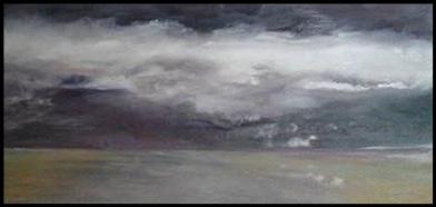 Entre Ciel et Terre 5: Islande . Huile sur médium, 57 x 28.5.  Cadre acier brossé. N'est plus disponible.