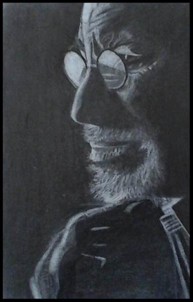 Spielberg. Fusain , crayon, pastel  sur papier 21 x 29,7           100€   (cadre bois effet acier , passe-partout)