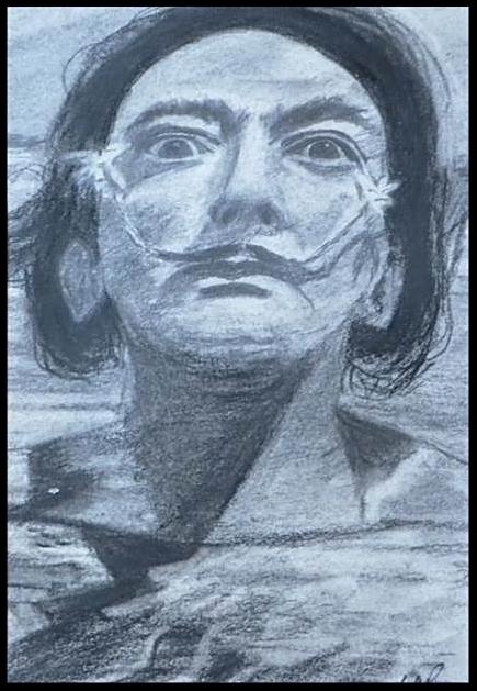 Dali, crayon et fusain sur papier