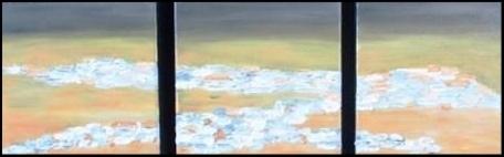 Entre Ciel et Terre 8: Villages Blancs d'Andalousie.Huile et enduit sur toile. Tryptique 3 x (20 x20)   N'est plus disponible.