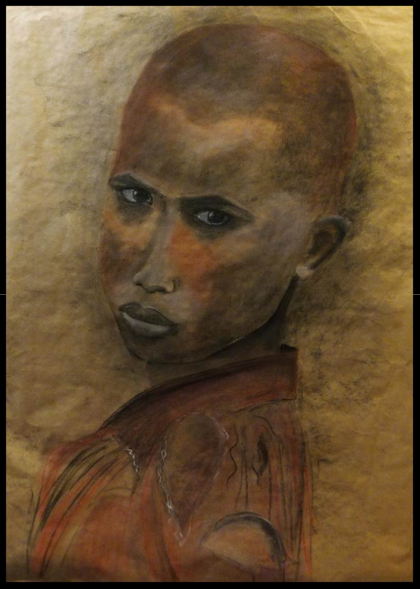 Fusain , crayon, pastel, craie  sur papier  kraft 58  x 75 cm   N'est plus disponible