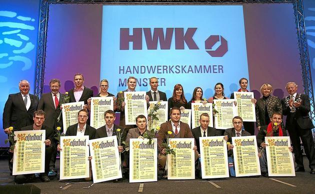 Die 16 besten Meisterinnen und Meister wurden gestern zusätzlich ausgezeichnet. Die Festrede hielt Ministerpräsidentin Hannelore Kraft. Foto: Jürgen Peperhowe