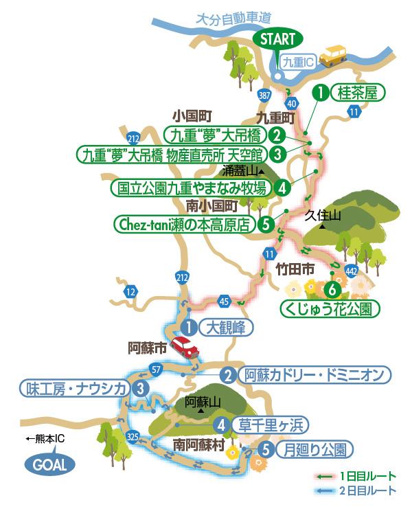 阿蘇山イラストマップ