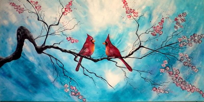 Rotkardinäle im Kirschbaum   100x50cm   Acryl auf Leinwand   € 200,00