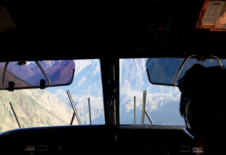 Dans l'avion pour Lukla juste avant atterrissage