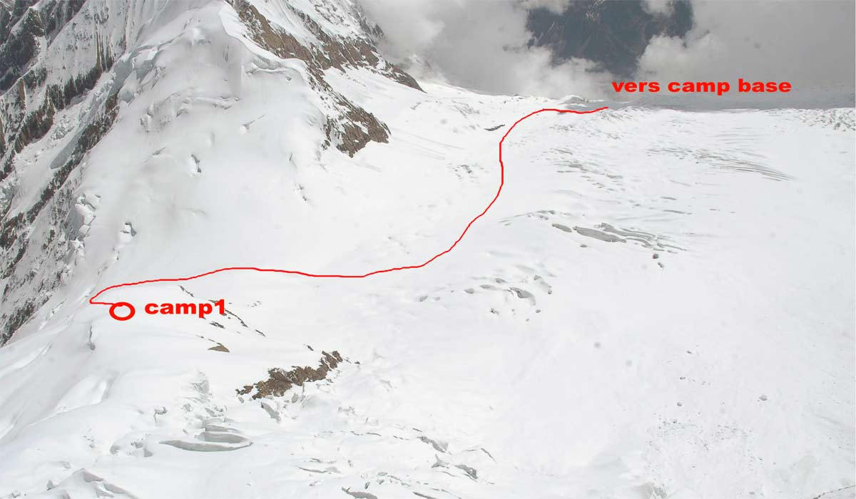 Itinéraire entre le camp de base et C1 http://www.shangrila-trek.com/manaslu/