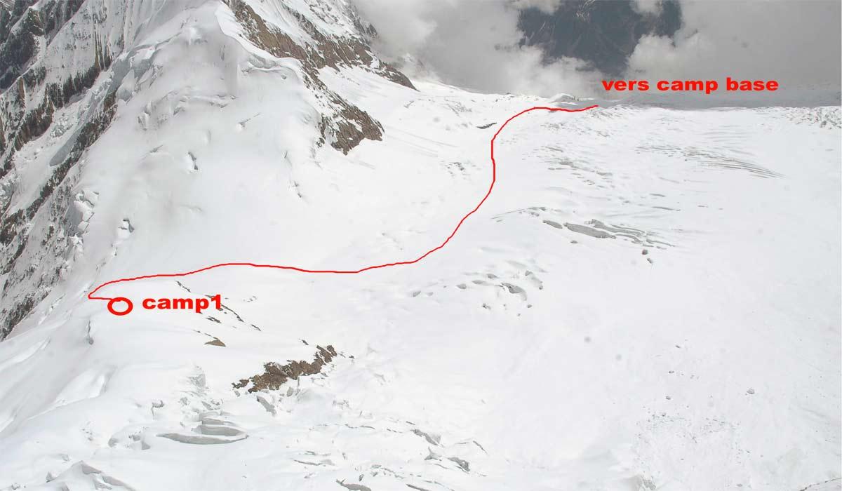 Itinéraire entre le camp de base et C1
