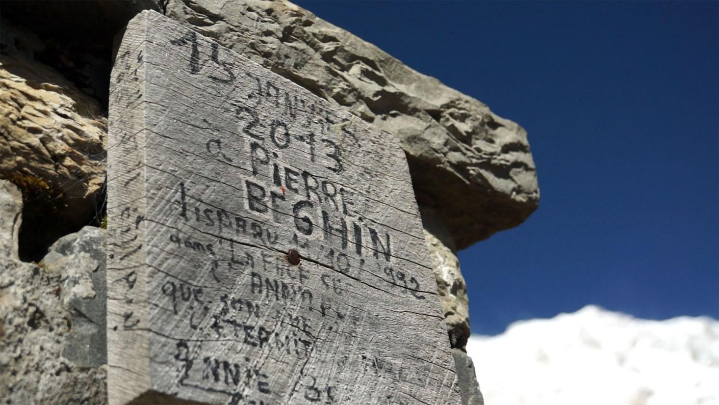 Hommage à Pierre Beghin décédé en 1992 dans cette face sud