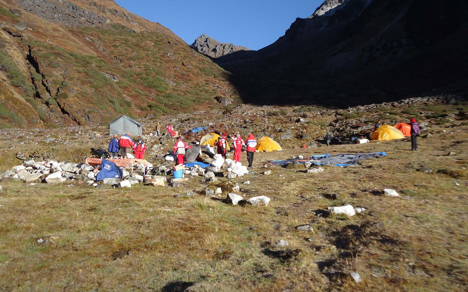 Camp sous le col Nango La - Photo Michael Bois