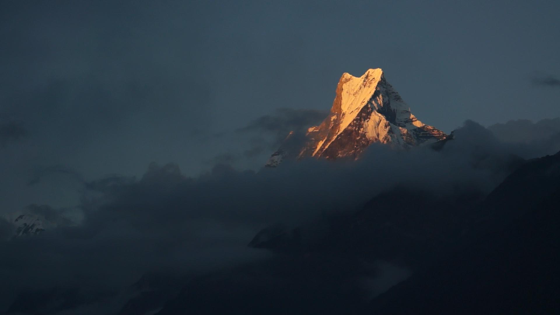 Machapuchare au coucher du soleil