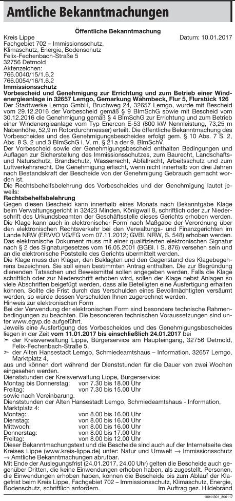 Baugenehmigung Enercon E-53 Wiembeck