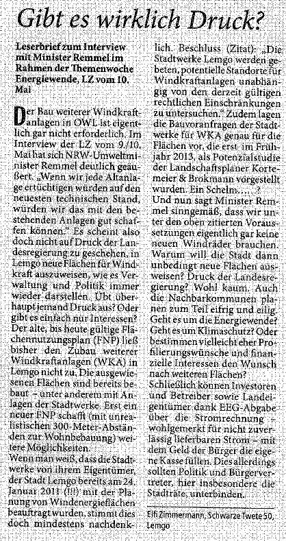 Leserbrief Elfi Zimmermann 24.05.2014