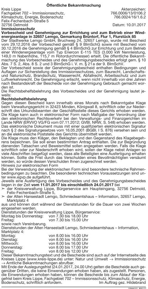 Baugenehmigung Enercon E-115 in Brüntorf