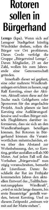 Bericht in der Lippischen Landeszeitung