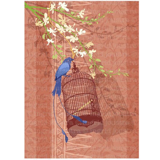 Bluebird: 1 uit serie schilderijen 'birdcages' | NAGA-printshop.com