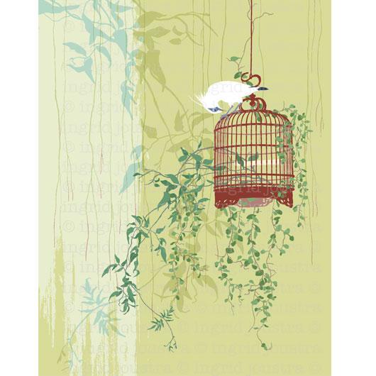 Di atas: 1 uit serie schilderijen 'birdcages' | NAGA-printshop.com