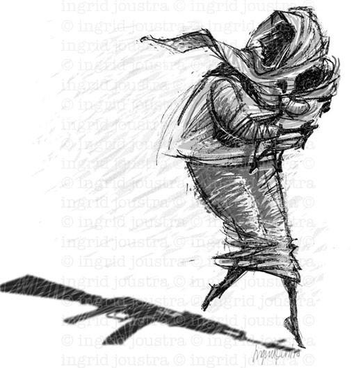 Ethiopische vluchtelinge: illustratie bij een artikel in PreWonen magazine