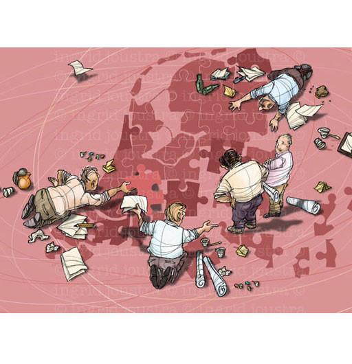 Puzzelen voor het spoor: illustratie bij een artikel in ProRail magazine
