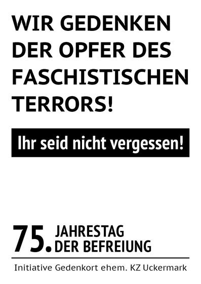 Plakat der InitiativeGedenkort ehem. KZ Uckermark, die den 28.April als Tag der Befreiung begehen