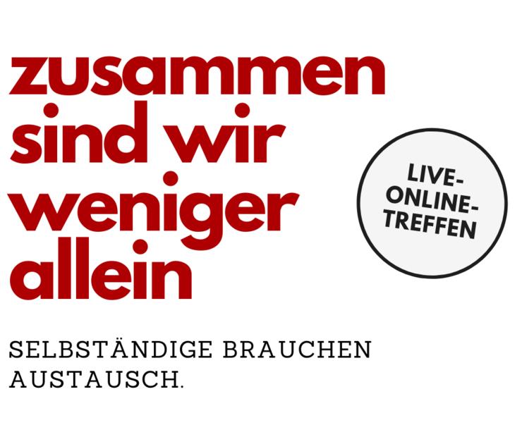 """Postkarte, auf der der Hinweis zum Live-Online-Treffen """"Zusammen sind wir weniger allein"""" steht."""