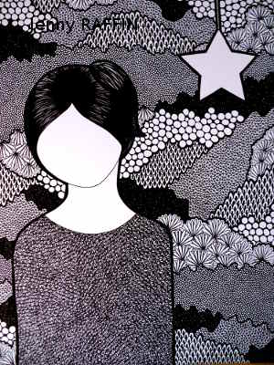 Femme à l'étoile, 40x50cm