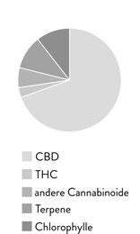 Kuchendiagramm CBD, THC, Terpene, Chlorophylle und andere enthaltene Cannabinoide