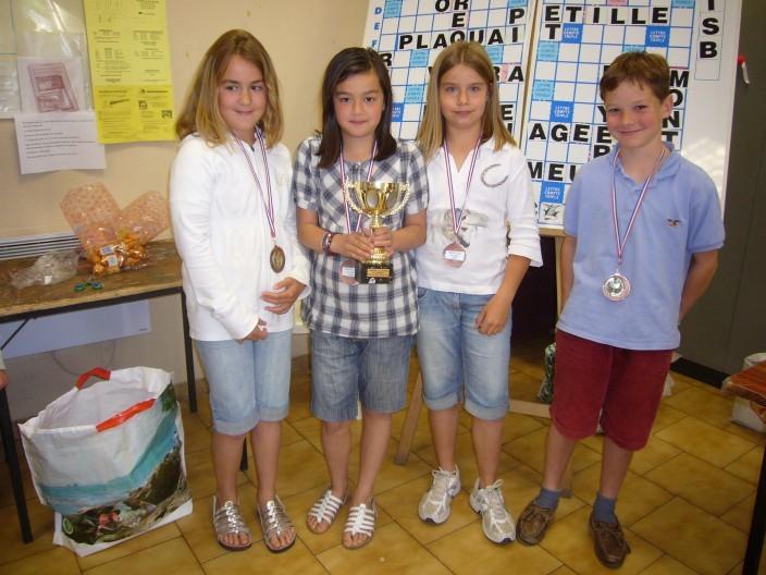 les vainqueurs du Trophée des Ecoles :Clémence,Martin,Marie et Morgane