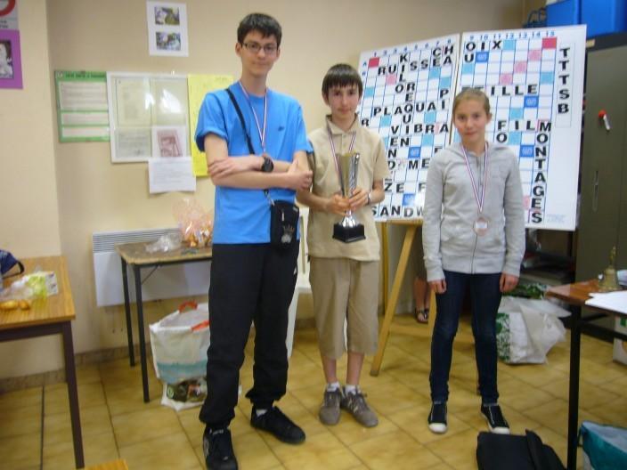 les vainqueurs du Trophée des Collèges:Amaury,Charlotte et Benjamin