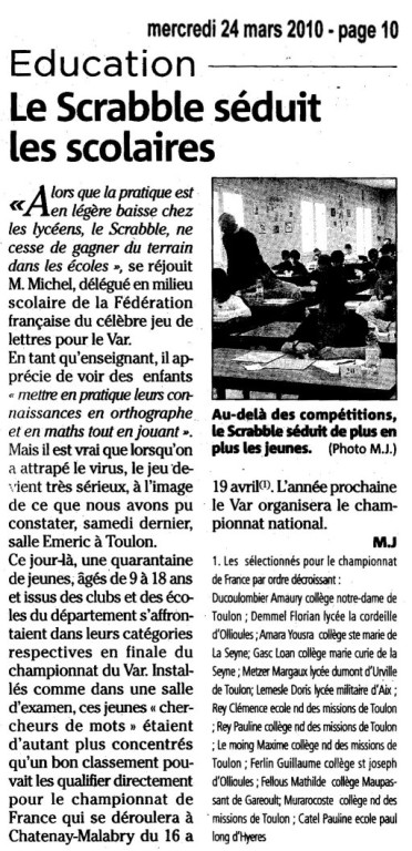 VAR MATIN ARTICLE DU 25 MARS 2010