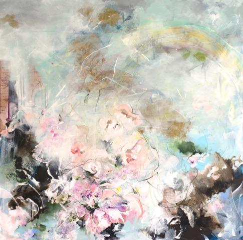 "Nr. 60 / CHRISTIN BREUIL-PALA / ""Die Blumen des Parcs"", Mixed Media auf Leinwand, 100x100cm, 800,-€"