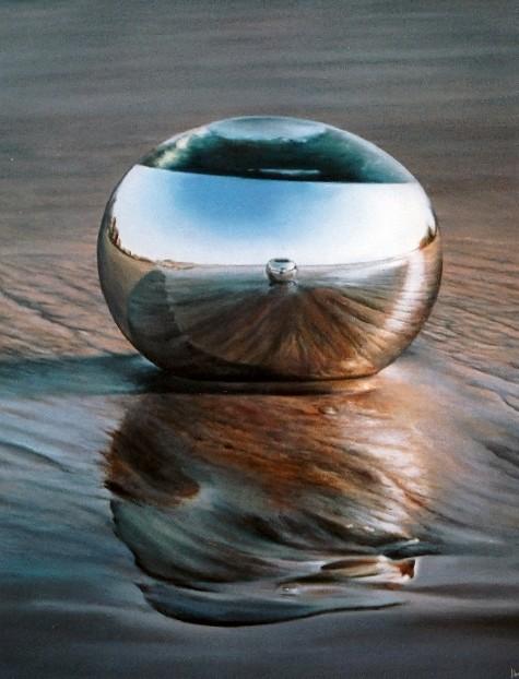 BRILLOS AL MOJO DE AGUA. Jorge Luna, óleo/tela, 100 x 180 cm