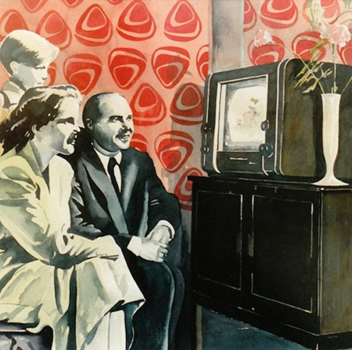 ' Der erste Tag ' Aquarell, 35 x 35 cm, 1992