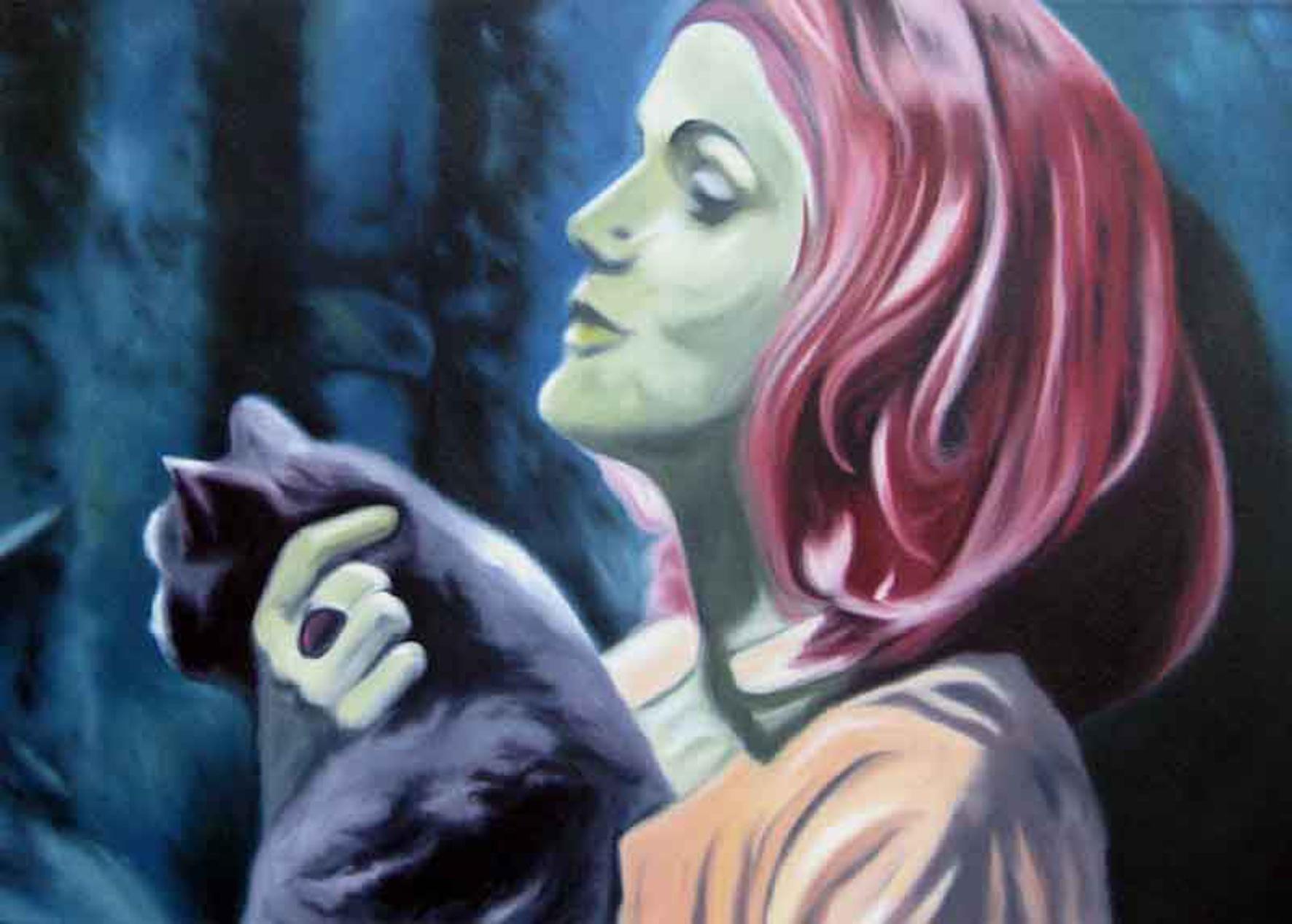 ' Die Katze ' Öl a. LW, 40 x 50 cm, 2008