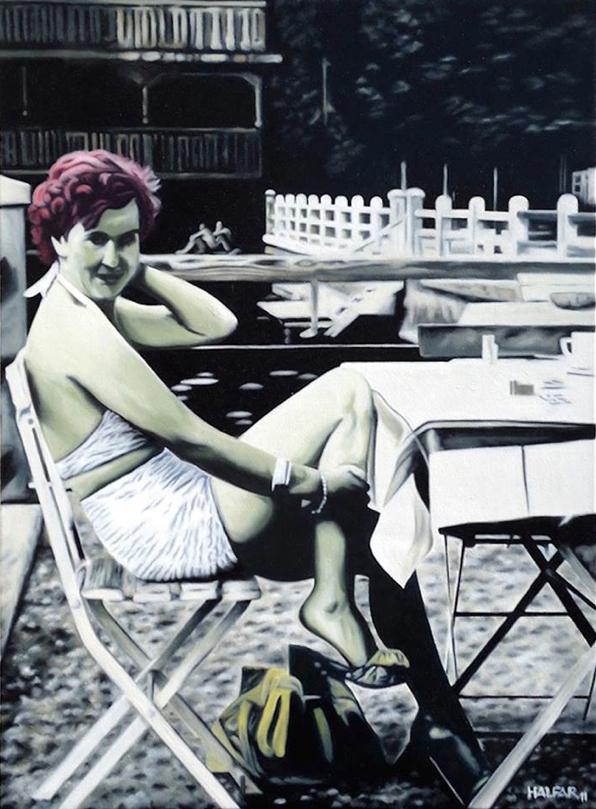' Eva Braun im Wildbad ' Öl a. LW, 100 x 80 cm, 2011
