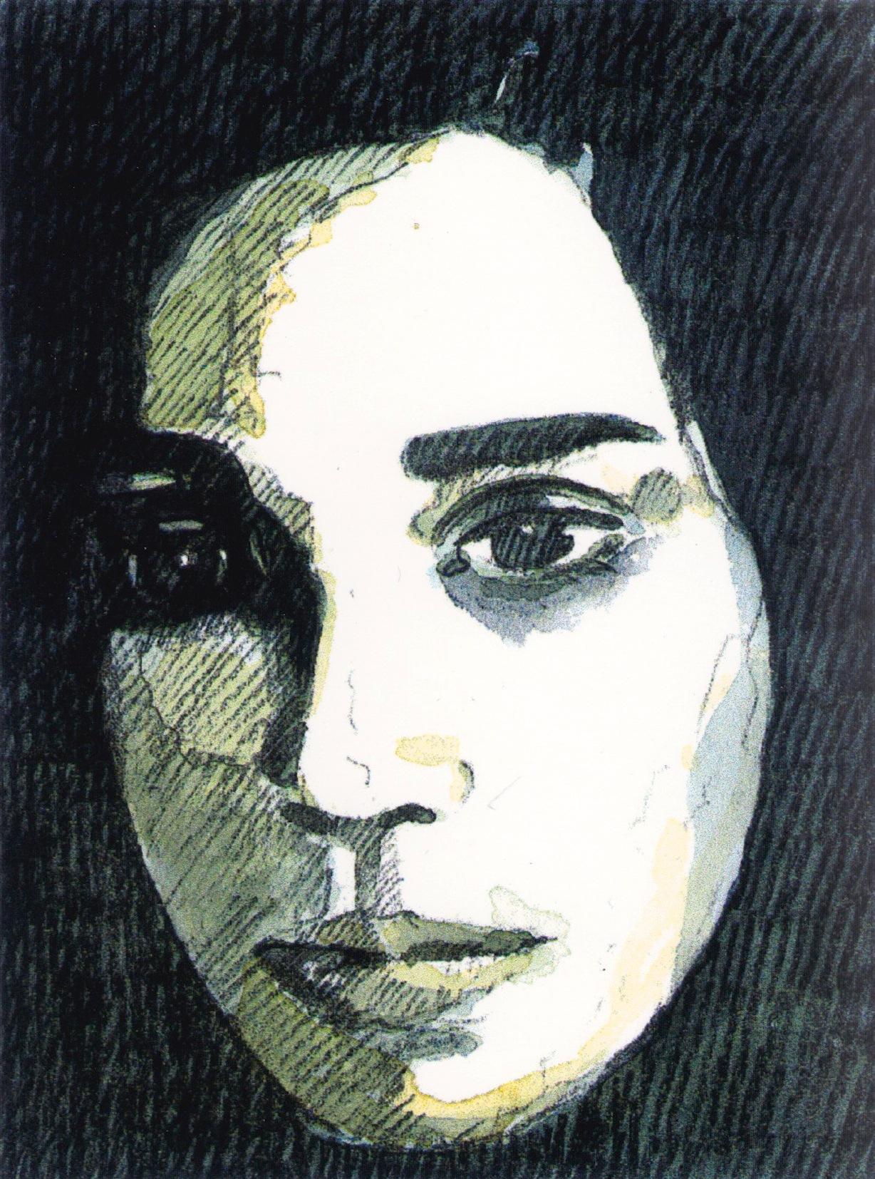 Porträtstudie, mixed media Aquarell/Pittstift, 12 x 9 cm, 2006