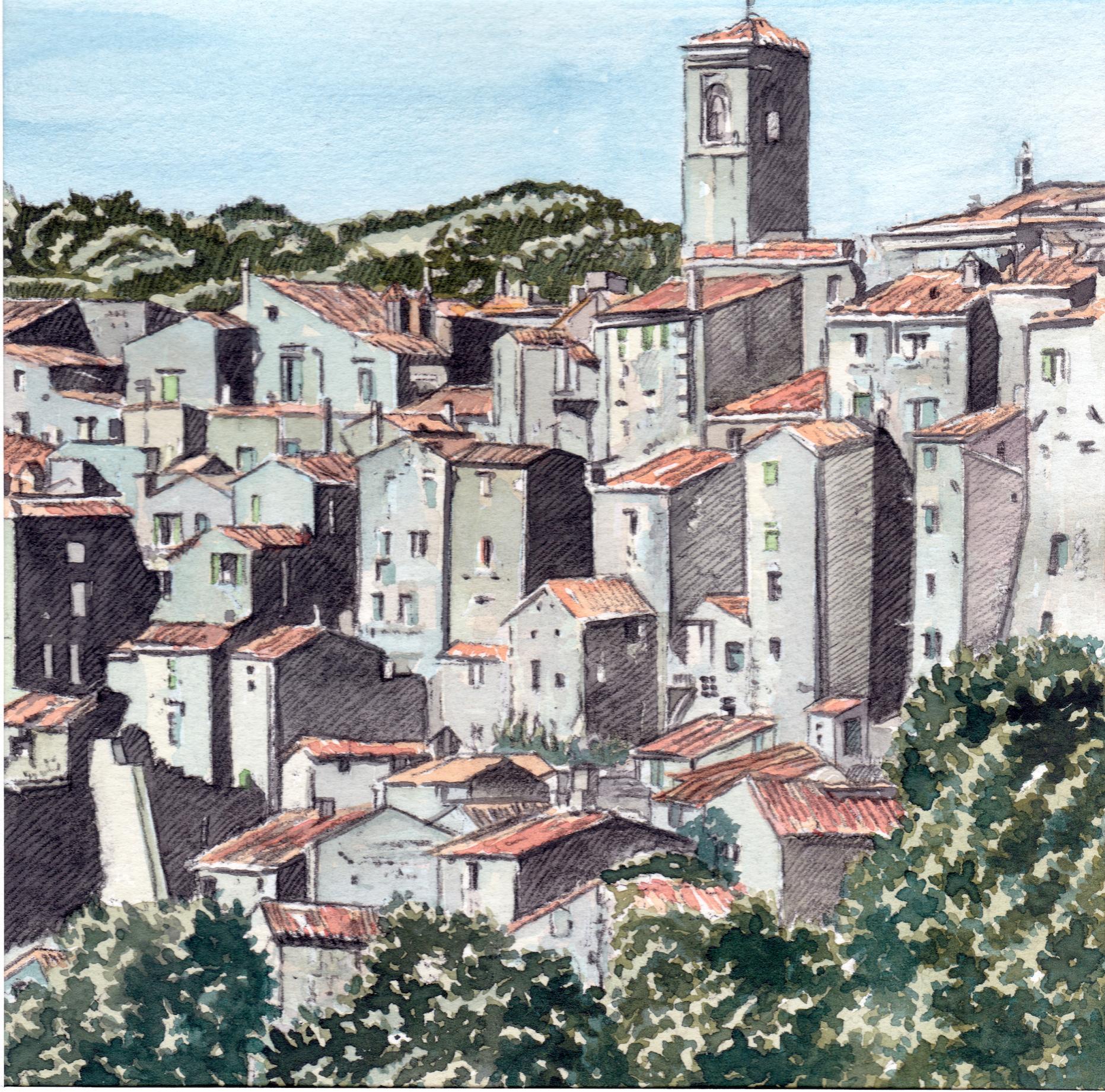 ' Sorano ' Toskana, Aquarell, 16 x 16 cm, 2006