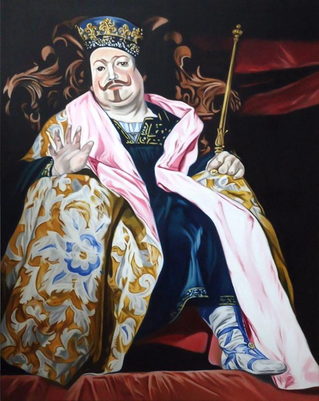 ' Der Vater des Hochstaplers ' nach Alonso Caño, Öl a. LW, 100 x 80 cm, 2015