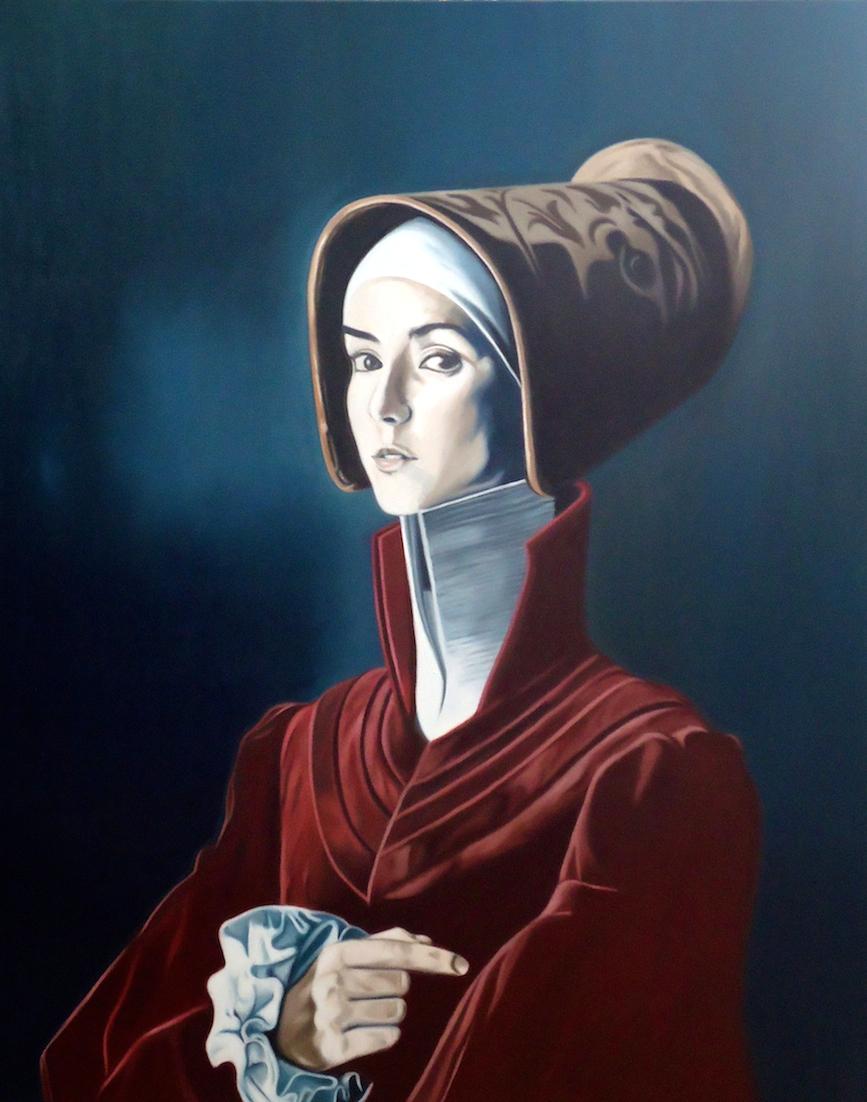 ' Frau mit Haube ' Öl a. LW, 100 x 80 cm, 2015