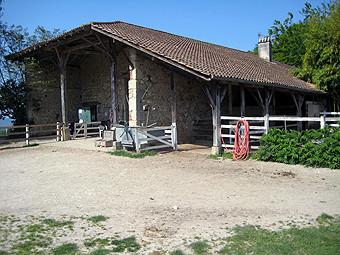 la cour où on prépare les poneys, proche de la carrière