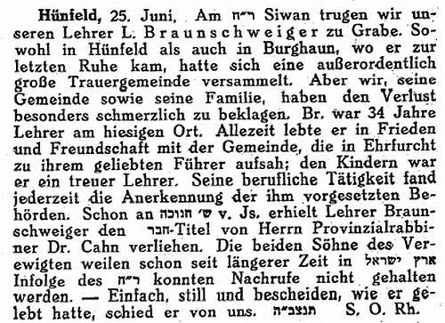 """Aus der Zeitschrift """"Der Israelit"""" vom 4. Juli 1935"""