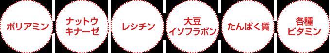 ポリアミン・ナットウキナーゼ・レシチン・大豆イソフラボン・たんぱく質・各種ビタミン