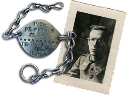 Jean soldat et sa plaque d'identité