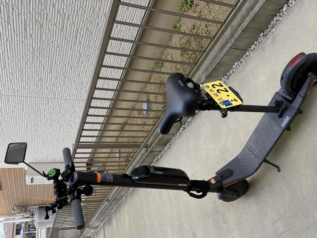 電動キックボード・セグウェイ Ninebot Kickscooter ES2 に保安部品を装着し公道走行できるようにしました。