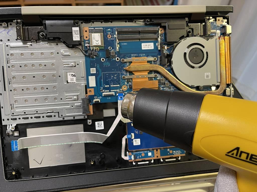 富士通ノートパソコン FMVN90D2G にスープをこぼした!分解し内部清掃、乾燥を行いましたが直りませんでした。