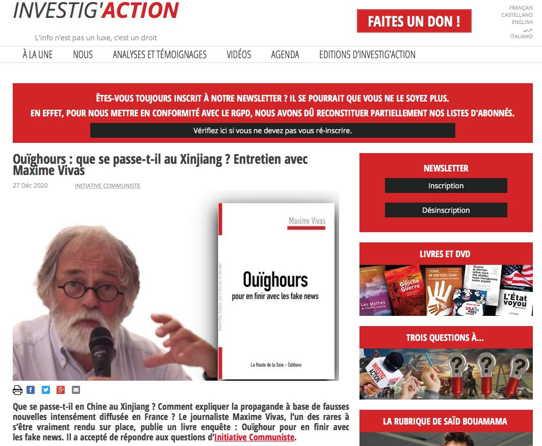 Maxime Vivas dans Investig'Action